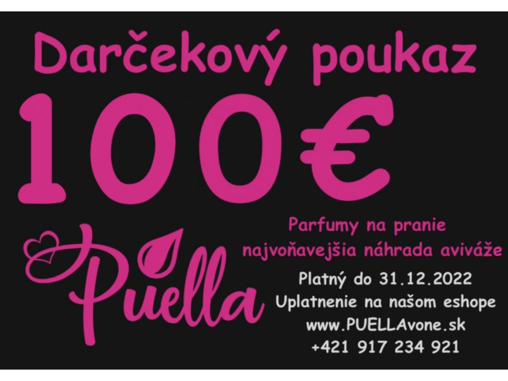 100€ Darčekový poukaz + vzorky vôni zadarmo